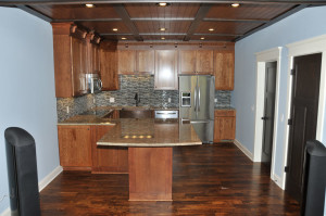 custom kitchen in basement